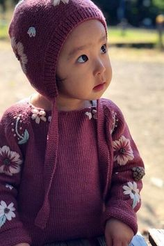 "Precious little girl wearing our Flora kids sweater in ""deep berry"", which is available in sizes from 3 months - 6 years! It takes an average of days to complete hand knitting and hand embroidering these special pieces of kids clothes! Cute Sweaters, Girls Sweaters, Baby Sweaters, Kids Fashion Boy, Toddler Fashion, Bonnet Hat, Organic Baby Clothes, Kids Hats, Baby Knitting"