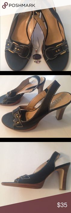 Franco Sarto black leather sandals sz 8M Like new black leather with a buckle on the front sandals size 8 Franco Sarto Shoes Sandals