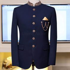 Navy Blue Embellished Prince Coat Customized according to your Body Shap. Sherwani For Men Wedding, Wedding Dresses Men Indian, Wedding Dress Men, Wedding Suits, Indian Men Fashion, Mens Fashion Suits, Dress Suits For Men, Men Dress, Man Dress Design