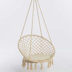 Amazon.de: Hängesessel zum Aufhängen - mit rundem Sitzkissen - inkl. Spreizstab - Weiß Beige - Belastbarkeit max. 100 kg
