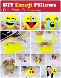 DIY Emoji Pillows: 1.No Sew Emoji Pillows 2. How to make Emoji Pillows at home : Cut, Sew, Glue and Stuff Them. Step by Step Tutorial with Pictures