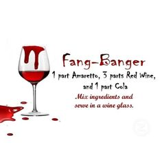 Fang-Banger Drink Recipe card - 1 part Amaretto, 3 parts Red Wine, 1 part Cola