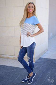 663790a6f9e All Day Everyday Top - Light Blue Spring Fashion 2017