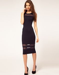 ASOS Midi Dress with Mesh Inserts