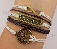 Infinity, Hope & A Tree of Life Charm Bracelet-Bronze Bracelet-Wax Cords and Leather Bracelet <3