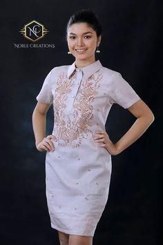 0ca010964b Moderne FILIPINIANA Leinen BARONG TAGALOG philippinischen nationalen Kostüm  - Mokka