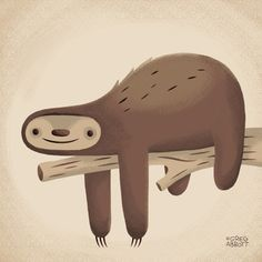 All in Good Time (Sloth) Stretched Canvas  ::  Greg Abbott