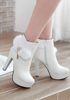 Available Sizes Shaft Height Heel Height Platform Height Heel Height :High Heel Type :Chunky Boot Shaft :Ankle Color :White Toe :Round Shoe Vamp :PU Leather Closure :Zipper footwears. Fancy Shoes, Pretty Shoes, Beautiful Shoes, Women's Shoes, Me Too Shoes, Top Shoes, 1950 Shoes, Formal Shoes, Shoes Style