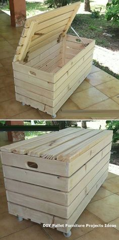 Recycled pallet storage box ideas Embellish your home this year with creative wooden Pallet Ideas. Old creative wooden pallet ideas improve the look Wooden Pallet Projects, Wooden Pallet Furniture, Pallet Crafts, Wooden Pallets, Wooden Diy, Pallet Wood, Outdoor Pallet, Pallet Couch, Pallet Benches