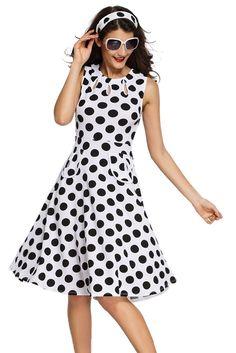 Robes Vintage Blanc Polka Dot Bohemain Robe Imprimee Avec Keyholes Pas Cher www.modebuy.com @Modebuy #Modebuy #CommeMontre #Blanc #sexy #dress