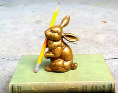 Solid Brass Rabbit Antique Paperweight ~ Metallic Gold Bunny Vintage Whimsical Figurine ~ Woodland Brass Hare Trinket // Bookend