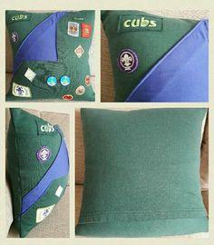 Memory keepsake cushion made from uniform cub scout