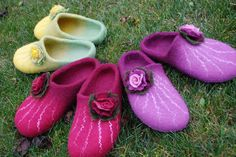 For me, my mom and my sister- 3 pairs of handfelted wool slippers HANDMADE TO ORDER