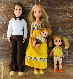 "Mattel produced The Sunshine Family dolls from 1974 - 1978. The first set of dolls included Dad Steve, Mom Stephie and baby Sweets. This particular set is from 1978 and was renamed ""The Sunshine Fun Family."" Baby Sweets grew up to be big sister Sweets Sunshine and now she had a baby brother with red hair and freckles. #sunshinefamily #sunshinefunfamily #sunshinedolls"