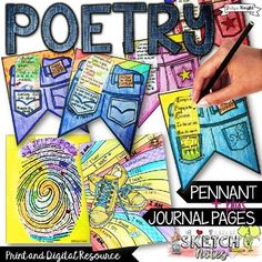 """April is National Poetry Month. English language arts students will love their poetry journal pages and Poem in Your Pocket pennant. Poetry is a challenge for students. English teachers prepare poetry lessons to get students enthusiastic about haiku, acrostic, I am poems, and """"My Selfie Poems."""" This spring, get visual with the poetry organizers and templates for your students to kick start their creativity! $5.50"""