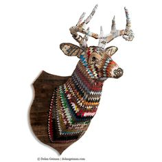 Just the thing for that cabin in the woods: a colorful stag sculpture made from upcycled metal. #CampEtsy