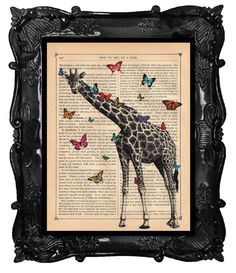Colorful Butterflies and Giraffe Art Print Giraffe with butterflies illustration beautifully upcycled dictionary page book art print