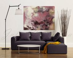Large Watercolor Painting Abstract Landscape by JuliaApostolova