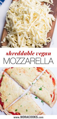 Vegan Mozzarella that can be shredded or sliced! It melts and stretches beautifully like the real thing and only takes minutes to make! Vegan Cheese Recipes, Dairy Free Recipes, Vegetarian Recipes, Cashew Cheese, Vegan Meals, Vegan Food, Healthy Food, Healthy Dinner Recipes, Whole Food Recipes
