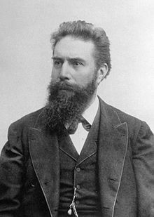 Wilhelm Conrad Röntgen ; 27 March 1845 – 10 February 1923) was a German physicist, who, on 8 November 1895, produced and detected electromagnetic radiation in a wavelength range today known as X-rays or Röntgen rays, an achievement that earned him the first Nobel Prize in Physics in 1901.[1] In honor of his accomplishments, IUPAC named element 111, Roentgenium, a very radioactive element with multiple unstable isotopes, after him.