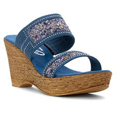 Onex Womens Maryann Wedge Sandal Denim 10 M US * See this great product.