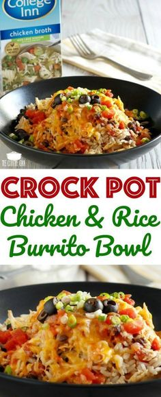 Crock Pot Chicken & Rice Burrito Bowl recipe with #CollegeInnBroth from The Country Cook #ad #chicken #crockpot #slowcooker #dinner #recipes #ideas #pourloveinn