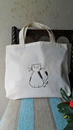 Cute cat Tote Bag, hand painting