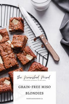 These grain-free miso blondies are decadent, studded with white chocolate and salty from the miso. Absolute perfection. Gluten Free Brownies, Gluten Free Treats, Paleo Treats, Gluten Free Desserts, Best Gluten Free Recipes, Bar Recipes, Baking Recipes, Healthy Recipes, Sugar Free Cookies