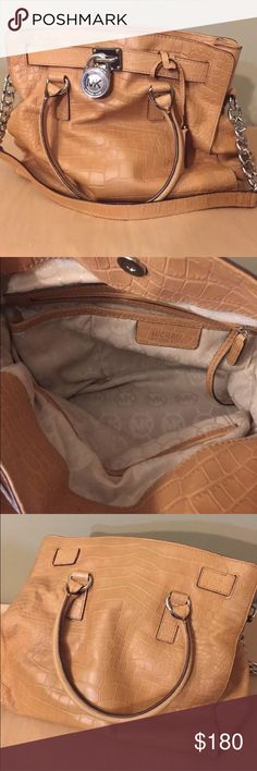 "MK Hamilton Matte Python East/ West Satchel Michael Kors  Crocodile Textured Leather - Matte Python Embossed Leather  Beautiful Camel Tan Beige Color with Silvertone Hardware. I used couple of months a little squished from closet storage.. may have couple of marks but overall EUC   Chain Strap has 10.5"" drop  Double Straps have 5"" drop  No Duster Bag  Interior zipper pocket + 4 open pouches + cord with clasp   magnetic snap closure  feet on bottom KORS Michael Kors Bags Satchels"
