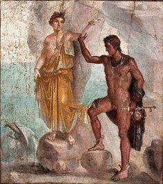 Perseo e Andromeda - Pompei, Casa dei Dioscuri - Affresco IV stile tardo (Alt. cm 128; largh. cm 106)