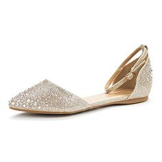 Love this Gold Rhinestone Ankle-Strap D'Orsay Flat - Women on Gold Rhinestone, Rhinestones, New Woman, Womens Flats, Wedding Shoes, Ballet Flats, Ankle Strap, Heeled Mules, Pairs