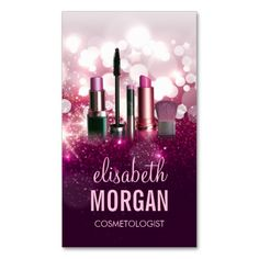 Makeup Artist Cosmetician - Pink Beauty Glitter Business Cards