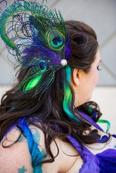 Amazon peacock feather headpiece