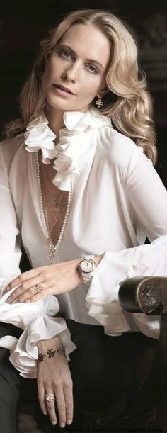 Poppy Delevingne for Thomas Sabo's Glam  Soul autumn/winter 2013 collection - long green blouse, ladies blouses, white blouse with necktie *sponsored https://www.pinterest.com/blouses_blouse/ https://www.pinterest.com/explore/blouses/ https://www.pinterest.com/blouses_blouse/black-blouse/ https://en.wikipedia.org/wiki/Blouse