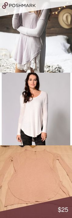 Free People Cream Drippy Ventura Thermal Very good used condition. No holes or piling. Super soft drippy thermal high low style. Looks adorable over a FP slip or with a pair of skinny jeans. A winter must have! Free People Tops