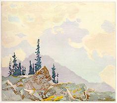 Walter J. Phillips (1884-1963) Mountain Schaeffer , 1927 colour woodcut on paper (edition: 100) 22.1 x 25.5 cm