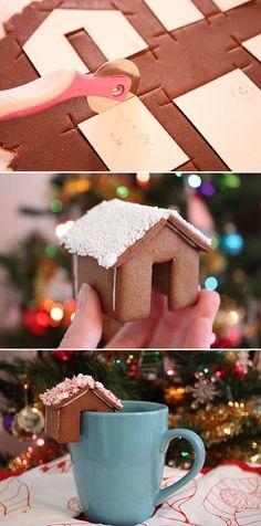Mini gingerbread houses that perch on the rim of a mug