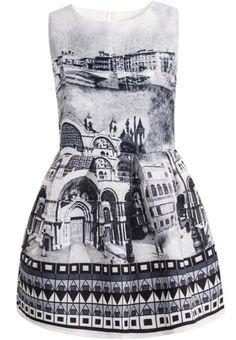 #MYTRENDTWOWARDROBE Women's Grey Sleeveless Vintage Print Jacquard Dress adding some Dadaist to the mix