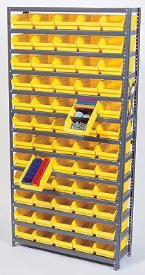 """Shelf System with 96 Bins (4""""H x 4.125""""W x 17.875""""L) (Yellow) (18""""D x 36""""W x 75""""H) by Quantum. $830.00. Powerful metal frame.. Color: Yellow. Bins feature extra thick side walls with reinforced rib.. Size: 18""""D x 36""""W x 75""""H. This item ships common carrier.. This all-in-one unit is easy to clean and will not rust or corrode. Heavy duty, high grade shelves offer a 400 lb, 36"""" wide capacity per shelf, with a smooth powder finish. The sloping shelving keeps sma..."""