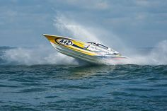 The Fountain powerboat Going Lean during the Cowes Classic Cowes-Torquay-Cowes Powerboat Race.