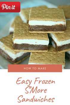 Easy Frozen S'More Sandwiches Gourmet Sandwiches, Party Sandwiches, Bagels Sandwich, Tortas Sandwich, Bologna Sandwich, Best Sandwich Recipes, Best Cake Recipes, Zuchinni Chocolate Chip Cookies, Paleo Cookies