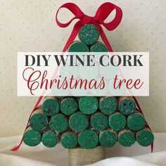 DIY Wine Cork Christmas Tree Tutorial – Decor by the Seashore This gorgeous DIY wine cork Christmas tree is easy to make with this quick tutorial! It's a great way to add some sparkly Christmas bling to your decor! Wine Cork Projects, Wine Cork Crafts, Wine Bottle Crafts, Craft Projects, Cork Christmas Trees, Christmas Crafts, Christmas Ornament, Wine Cork Ornaments, Bible Crafts For Kids