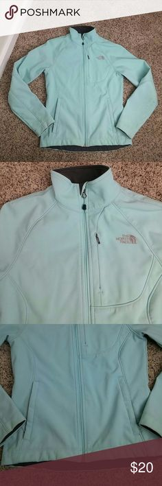 The north face tiffany blue jacket This jacket is amazing. Light weight very clean but has flaws see last 3 pictures. Has some stains and color fade to one back arm. And a small tear with paint stain inside. Selling as is. All the zipers work like new. The North Face Jackets & Coats