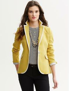 Pair a patterned shirt and bold necklace with this colored tipped blazer and you're rocking!  | Banana Republic