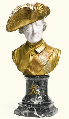 After Johann Gottfried Schadow German, second half century KING FREDERICK II OF PRUSSIA signed: v. partially polychromed white marble and gilt bronze, on a veined green marble base Green Marble, White Marble, Friedrich Ii, Frederick The Great, Classical Period, Seven Years' War, Catherine The Great, Wax Stamp, European History