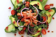 Simple recipe for a paleo smoked salmon salad with a light and lemony dressing. Easy paleo salad recipe that comes together in just minutes!