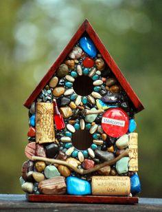Mosaic Birdhouse Outdoor decor Mosaic by WinestoneBirdhouses