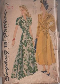MOMSPatterns Vintage Sewing Patterns - Simplicity 4252 Vintage 40's Sewing Pattern GORGEOUS Romantic Hollywood Starlet Simple to Make Wrap A...