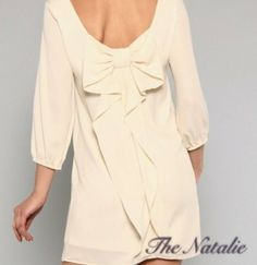 The Natalie is an ivory boat-neck shift dress featuring the fan-favorite cascading bow-back. For all the pretty brides to be this year, steal the show at your rehearsal dinner, bachelorette or wedding shower in this ensemble with a blush pink skinny belt and a statement necklace to match.    Size...