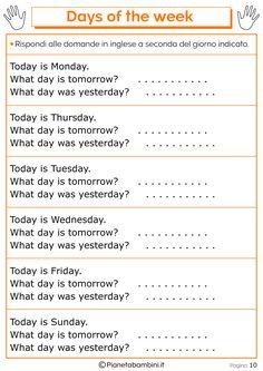 Tante schede didattiche da stampare in PDF per imparare i giorni della settimana in inglese per bambini della scuola primaria con esercizi divertenti English Grammar For Kids, Learning English For Kids, Teaching English Grammar, English Lessons For Kids, Kids English, Learn English Words, English Language Learning, English Vocabulary, English Worksheets For Kindergarten